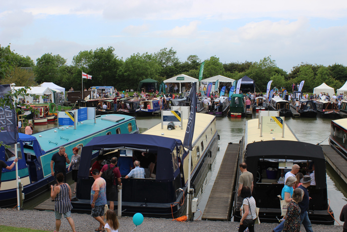 Boats on show in the Marina at Crick Boat Show