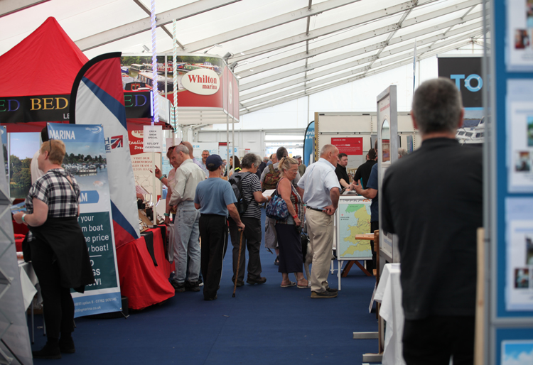 Inside the Crick Boat Waterways World Boating Marquee