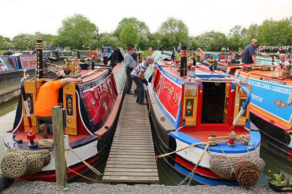 Historic narrowboats at Crick Boat Show