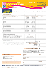 Boating Marquee Booking Form 2019